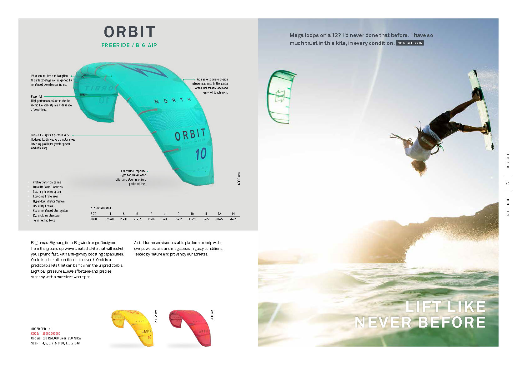 aile de kite north 2020 ORBIT Freeride
