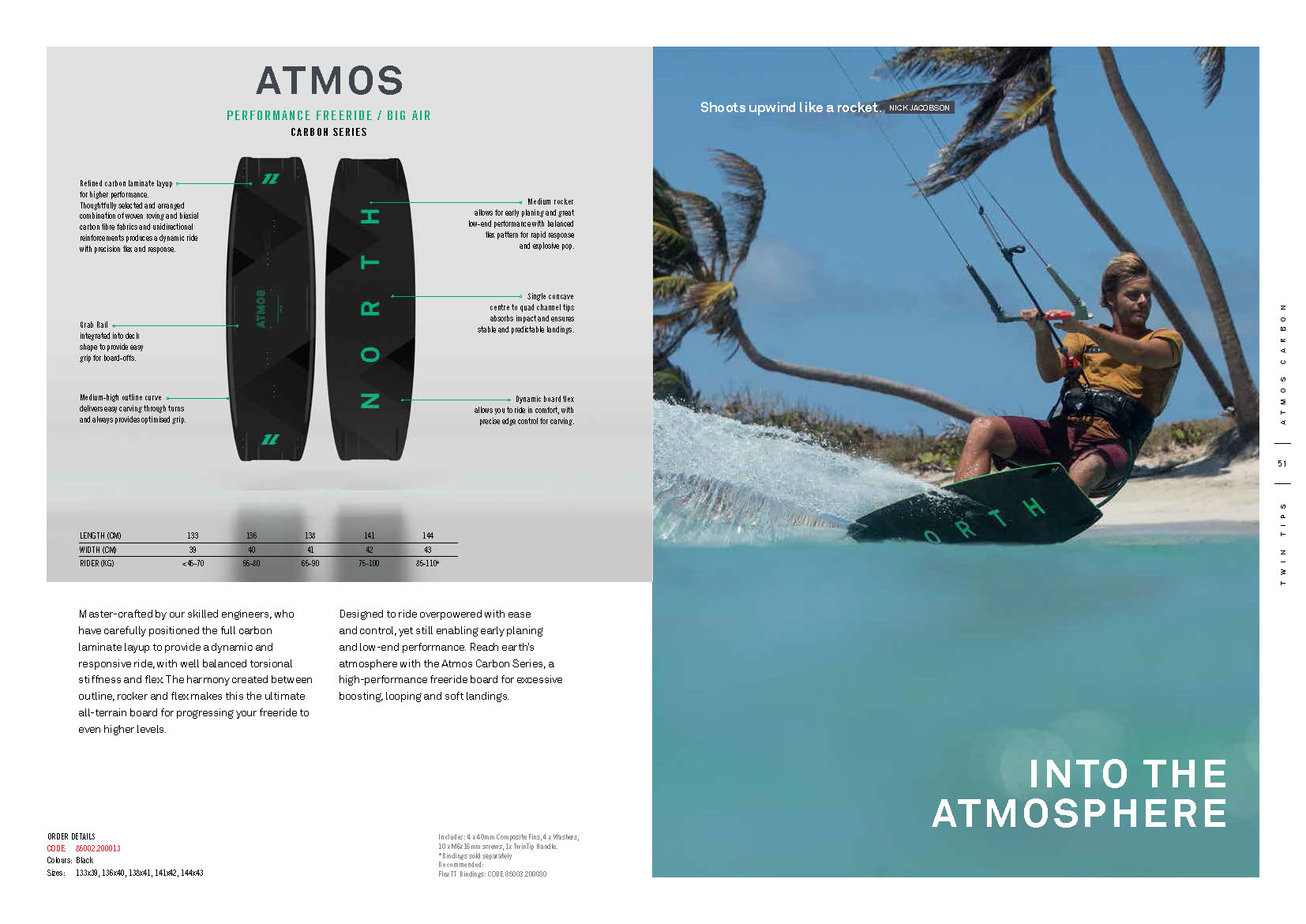Atmos carbon planche de kite north 2020