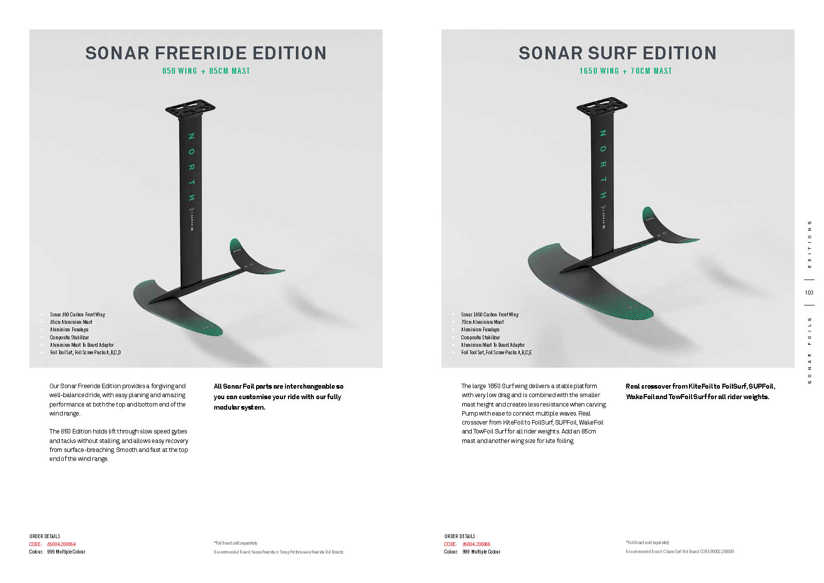 Foils NORTH 2020 : SONAR FREERIDE EDITION et SONAR SURF EDITION